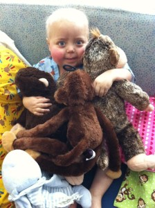 Jenson Aaron with monkeys for Monkey Grins